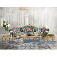 Set Sofa Tamu Mahoni Antik Model Italian Gold Leaf